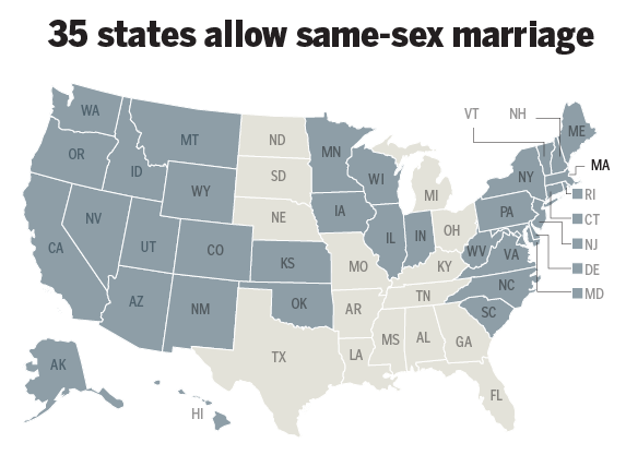 Was and What state allow same sex marriage can paraphrased?